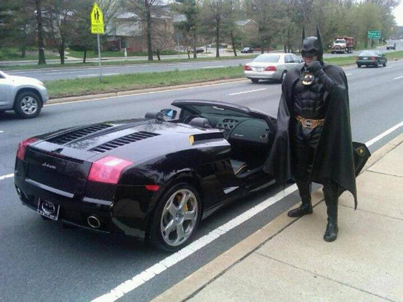 Police stop 'Batman' for not having license tags on his 'Batmobile'
